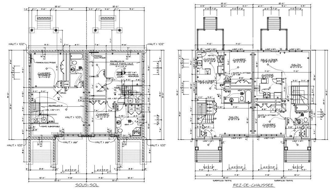 Plan maison 1 chambre de 2 chambres au 1ier tage for Acheter plan maison